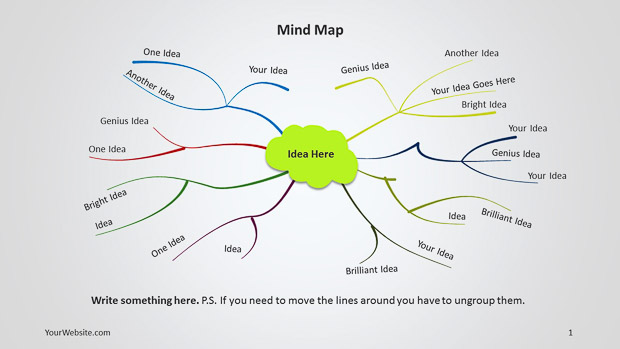 mind map template powerpoint free download - infographics slide ocean