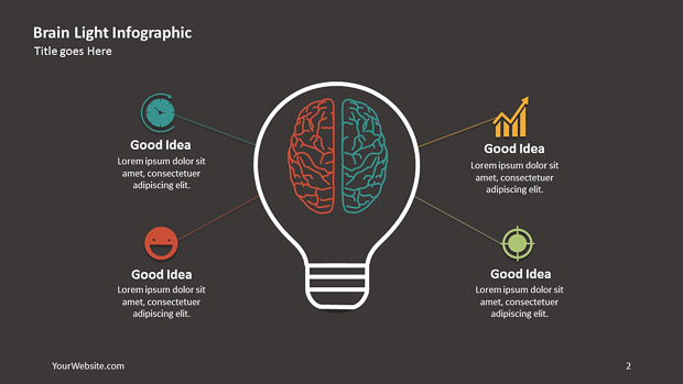 Brain Light Ppt Infographic  Slide Ocean