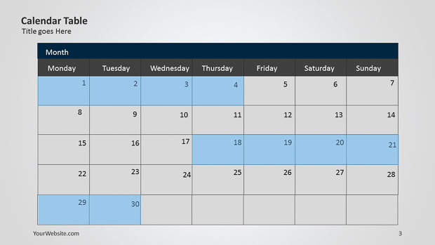 Calendar Powerpoint Table – Slide Ocean