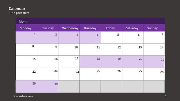 Calendar Powerpoint Infographic  Slide Ocean